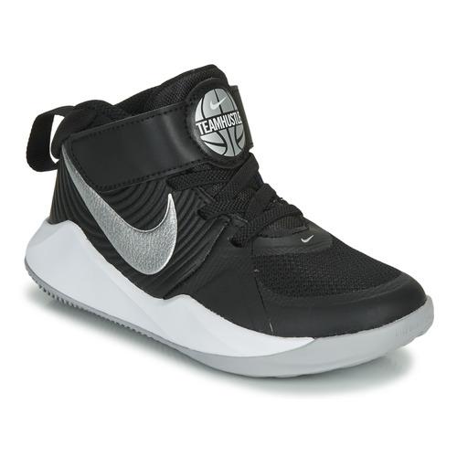 Shoes Boy Basketball shoes Nike TEAM HUSTLE D 9 PS Black / Silver