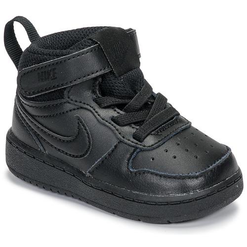 Shoes Children Low top trainers Nike COURT BOROUGH MID 2 TD Black