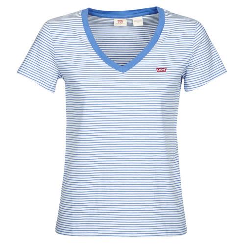 Clothing Women short-sleeved t-shirts Levi's PERFECT VNECK White / Blue