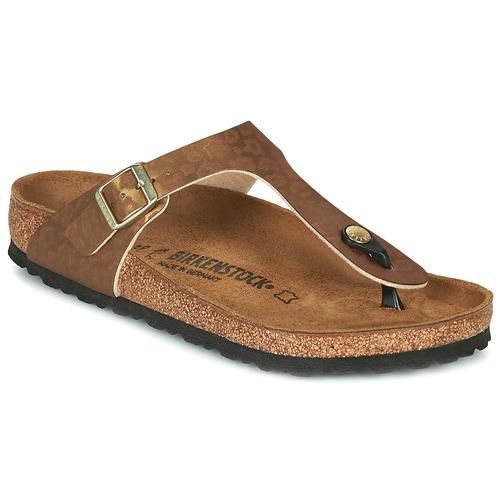 Shoes Women Flip flops Birkenstock GIZEH Gold / Leopard