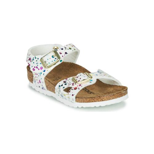 Shoes Girl Sandals Birkenstock RIO White / Multicolour