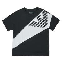 Clothing Boy short-sleeved t-shirts Emporio Armani Blaise Black / White