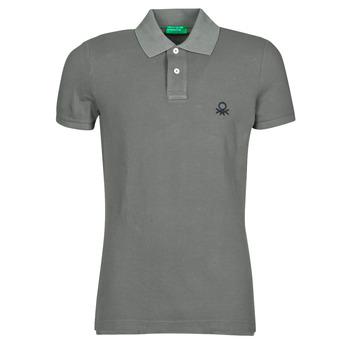 Clothing Men short-sleeved polo shirts Benetton  Grey