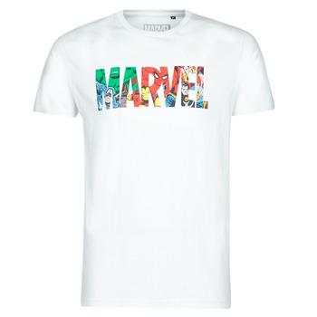 Clothing Men short-sleeved t-shirts Casual Attitude MARVEL HERO LOGO White