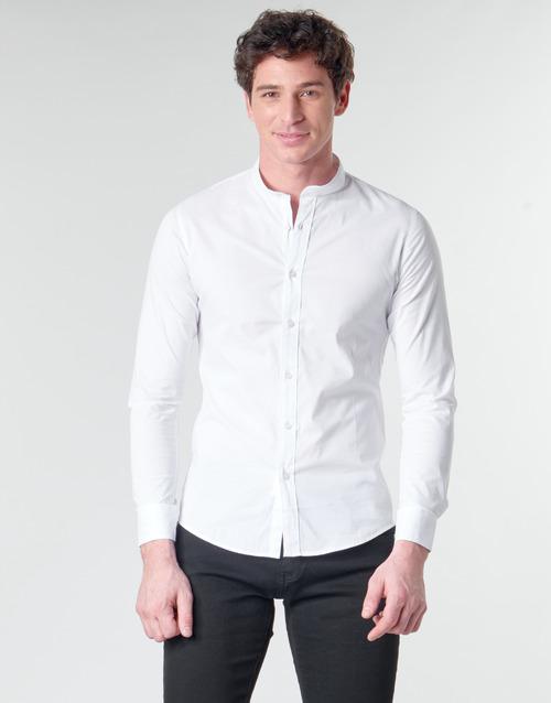 Clothing Men Long-sleeved shirts Casual Attitude MASS White