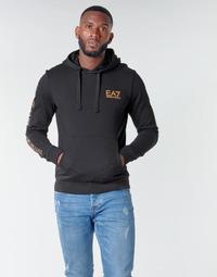 Clothing Men Sweaters Emporio Armani EA7 TRAIN LOGO SERIES M HOODIE RN COFT Black