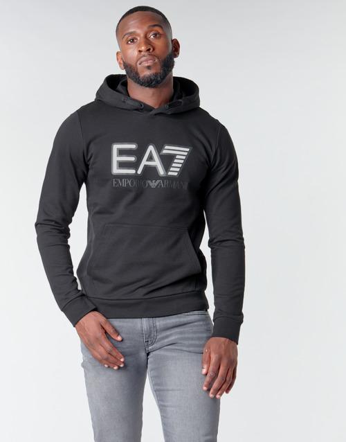 Clothing Men Sweaters Emporio Armani EA7 TRAIN VISIBILITY M HOODIE RN COFT Black