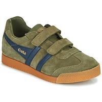 Shoes Children Low top trainers Gola HARRIER VELCRO Kaki / Marine