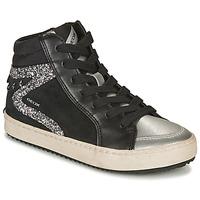 Shoes Girl Hi top trainers Geox KALISPERA Black / Silver