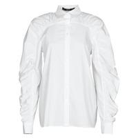 Clothing Women Shirts Karl Lagerfeld POPLIN BLOUSE W/ GATHERING White