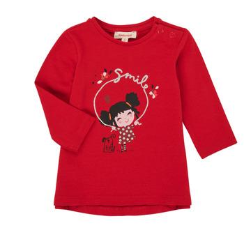 Clothing Girl Long sleeved tee-shirts Catimini CR10043-38 Red