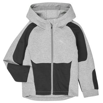 Clothing Boy Sweaters Puma EVOSTRIPE HOODED JACKET Grey
