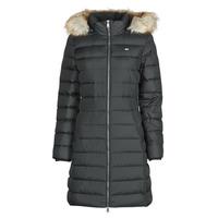 Clothing Women Duffel coats Tommy Jeans TJW ESSENTIAL HOODED DOWN COAT Black