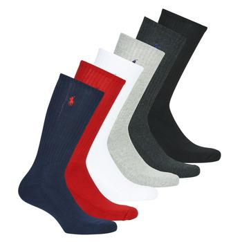 Shoe accessories Men High socks Polo Ralph Lauren ASX110 6 PACK COTTON Black / Red / Marine / Grey / Grey / White