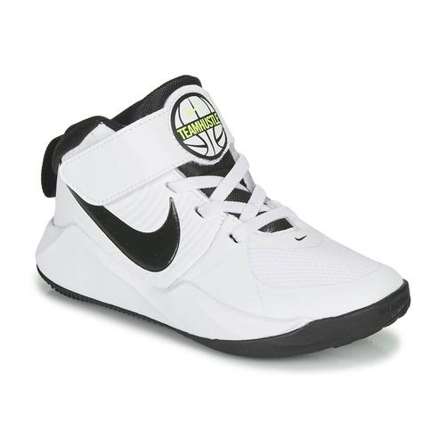 Shoes Boy Basketball shoes Nike TEAM HUSTLE D 9 PS White / Black