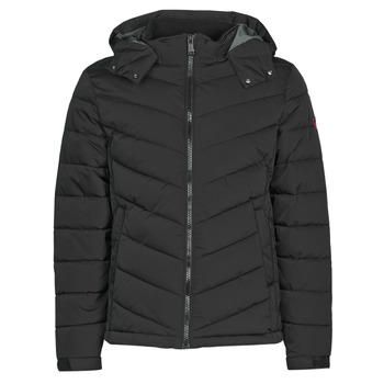 Clothing Men Duffel coats Guess STRETCH PUFFA HOODED Black