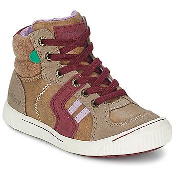 Shoes Girl Hi top trainers Kickers ZIGUERS BEIGE / BORDEAUX
