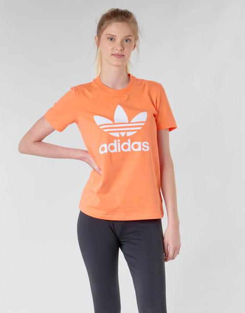 Clothing Women Sweaters adidas Originals TREFOIL TEE Orange