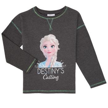 Clothing Girl Long sleeved tee-shirts TEAM HEROES FROZEN Grey