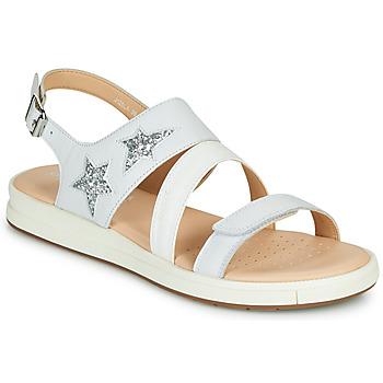 Shoes Girl Sandals Geox J SANDAL REBECCA GIR White / Silver