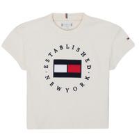 Clothing Girl Short-sleeved t-shirts Tommy Hilfiger KG0KG05503-Z00-J Beige