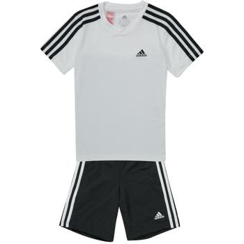 Clothing Boy Tracksuits adidas Performance B 3S T SET White / Black