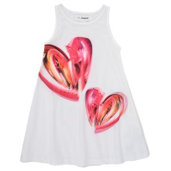 Clothing Girl Short Dresses Desigual 21SGVK12-1000 White