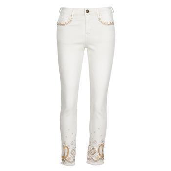 Clothing Women Slim jeans Desigual PAISLEY White