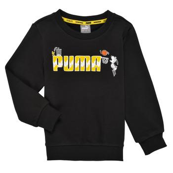 Clothing Boy Sweaters Puma SNOOPY PEANUTS CREW Black