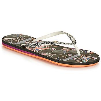 Shoes Women Flip flops Roxy PORTOFINO III Black / Print