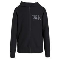 Clothing Boy Sweaters Calvin Klein Jeans HYBRID LOGO ZIP THROUGH Black