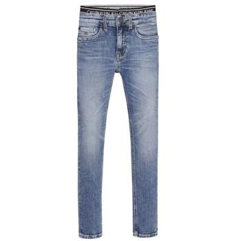 Clothing Boy Skinny jeans Calvin Klein Jeans SKINNY VINTAGE LIGHT BLUE Blue