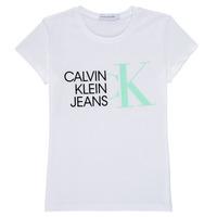 Clothing Girl Short-sleeved t-shirts Calvin Klein Jeans HYBRID LOGO SLIM T-SHIRT White