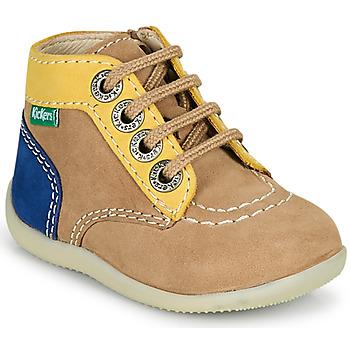 Shoes Boy Mid boots Kickers BONZIP-2 Beige / Yellow / Marine