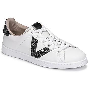 Shoes Women Low top trainers Victoria TENIS PIEL GLITTER White / Black