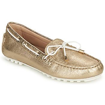 Shoes Women Loafers Geox D LEELYAN C Gold / White