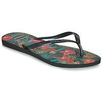Shoes Women Flip flops Havaianas SLIM TROPICAL Black / Grey
