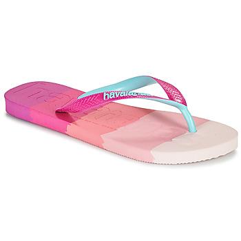 Shoes Women Flip flops Havaianas TOP LOGOMANIA MULTICOLOR Pink