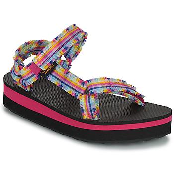 Shoes Girl Sandals Teva C MIDFORM FRAY Pink / Multicolour
