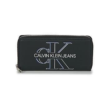 Bags Women Wallets Calvin Klein Jeans ZIP AROUND GLOW Black