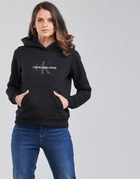 Clothing Women Sweaters Calvin Klein Jeans REFLECTIVE MONOGRAM HOODIE Black