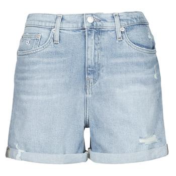 Clothing Women Shorts / Bermudas Calvin Klein Jeans MOM SHORT Blue / Clear
