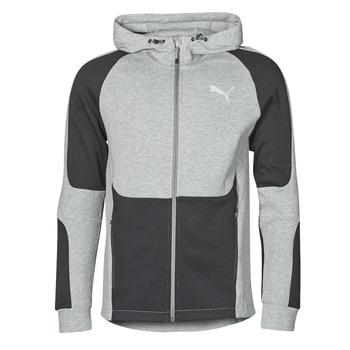 Clothing Men Sweaters Puma EVOSTRIPE FZ HOODY Grey / Black