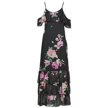 Clothing Women Long Dresses Guess AGATHE DRESS Black / Multicolour