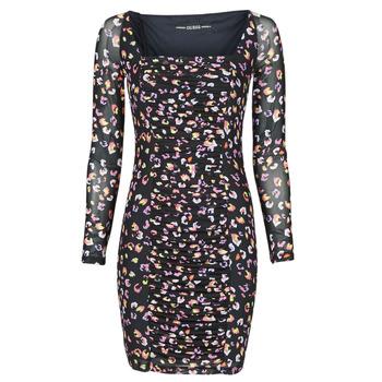 Clothing Women Short Dresses Guess GAYLE DRESS Black / Leo