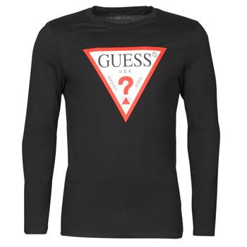 Clothing Men Long sleeved tee-shirts Guess CN LS ORIGINAL LOGO TEE Black
