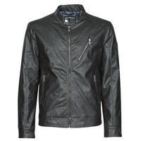 Clothing Men Leather jackets / Imitation leather Guess ECO LEATER VINTAGE BIKER Black