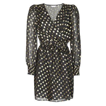 Clothing Women Short Dresses Naf Naf DOTSYTA Black / Gold