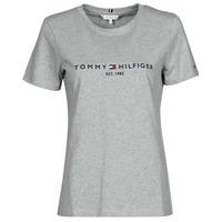 Clothing Women Short-sleeved t-shirts Tommy Hilfiger TH ESS HILFIGER C-NK REG TEE SS Grey