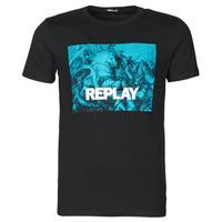 Clothing Men Short-sleeved t-shirts Replay M3412-2660 Black / Blue